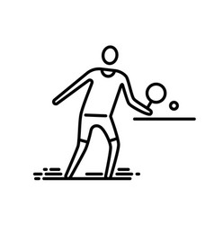 Thin line icon ping pong table tennis player vector