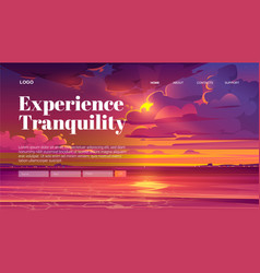 travel banner tranquility rest with sea sunset vector image