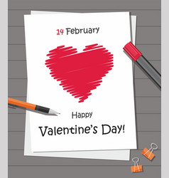 valentines day party with red heart on the paper vector image