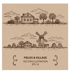 village with windmill vector image