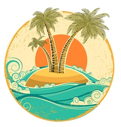 VIntage tropical island symbol seascape with sun vector image