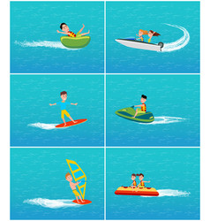 Water transportation and fun people vector