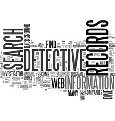 Web detective text word cloud concept vector