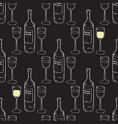 wine glasses and wine bottles seamless pattern vector image
