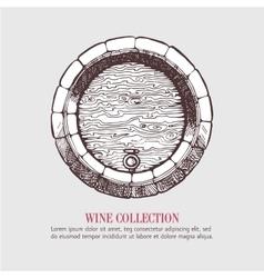 Wine or beer wood barrel vector