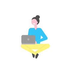 woman working with laptop isolated person vector image