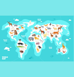 World map with animals earth discovery funny kids vector