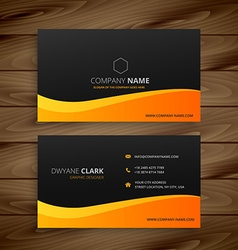 yellow wave business card vector image