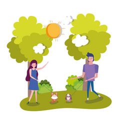 young couple walking with her pets outdoor healthy vector image