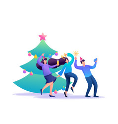 young people have fun laughing dancing flat 2d vector image