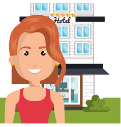 Young woman outside hotel character scene vector