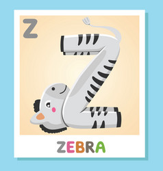 z is for zebra letter z zebra cute vector image