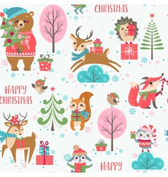 Cute Christmas animals pattern vector image vector image