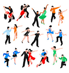 dances isometric people set vector image vector image