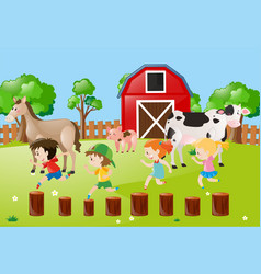 Farm scene with kids running in the field vector