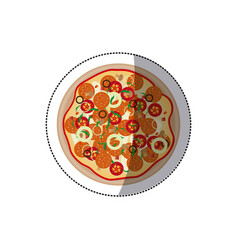 sticker colorful rounded pizza icon fast food vector image