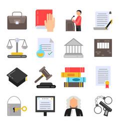 symbols of legal regulations juridical icons set vector image