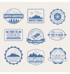 Winter Adventure Badges Set Logos Labels vector image