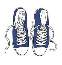 blue sports sneakers with white laces vector image