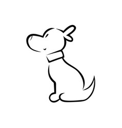 cute puppy silhouette on white vector image