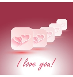 I Love You stylish design hearts with vector image