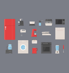kitchen appliances set fridge washing machine vector image