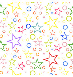 seamless geometric pattern of colored stars and vector image vector image