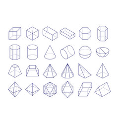 3d geometric shapes outline objects vector image vector image