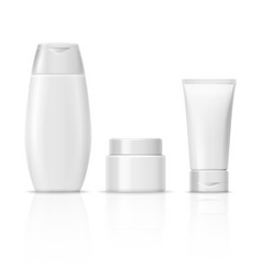 Blank white cosmetics product packaging set vector image