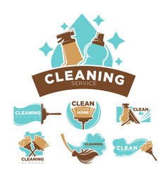 cleaning service promotional emblems set with vector image vector image