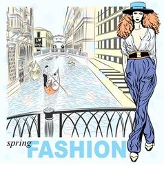 Fashion girl venice vector