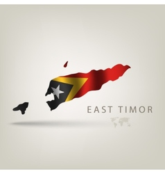 Flag of EAST TIMOR as a country with a shadow vector image vector image