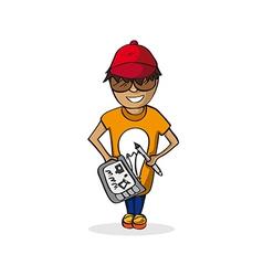 Profession graphic designer man cartoon figure vector image vector image