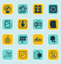 set of 16 eco-friendly icons includes fire banned vector image vector image