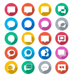 Speech bubble flat color icons vector image vector image