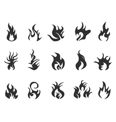 black flame icon vector image vector image