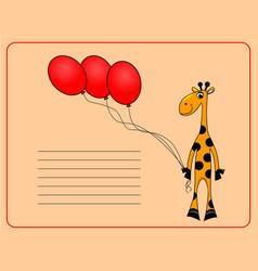 card with cheerful giraffe vector image