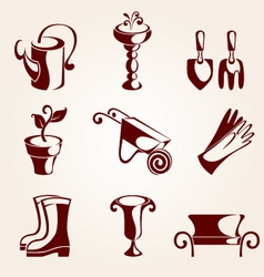 gardening elements set vector image vector image