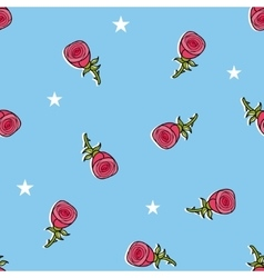 Seamless pattern with cute roses and stars vector image