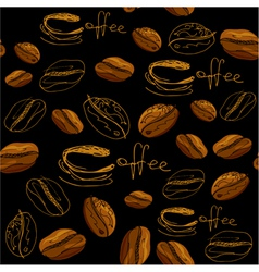 Seamless pattern with handdrawn coffee cups beans vector image