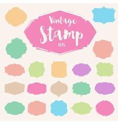 Set of pastel colour vintage stamp blank frame vector