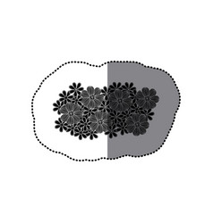 sticker black pattern with white contour floral vector image vector image