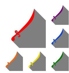 sword sign set of red orange vector image