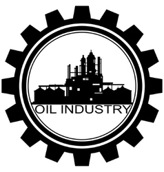 The icon with the oil refinery vector image vector image