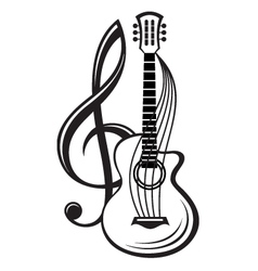 treble clef and guitar vector image vector image