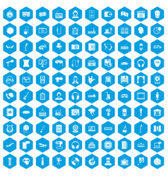 100 microphone icons set blue vector