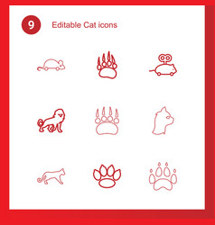 9 cat icons vector
