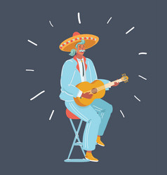 a mexican man playing guitar vector image