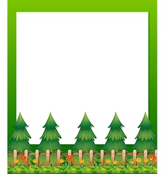 An empty paper template with pine trees and a vector