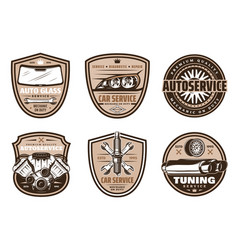 Auto service retro badge of car repair shop design vector